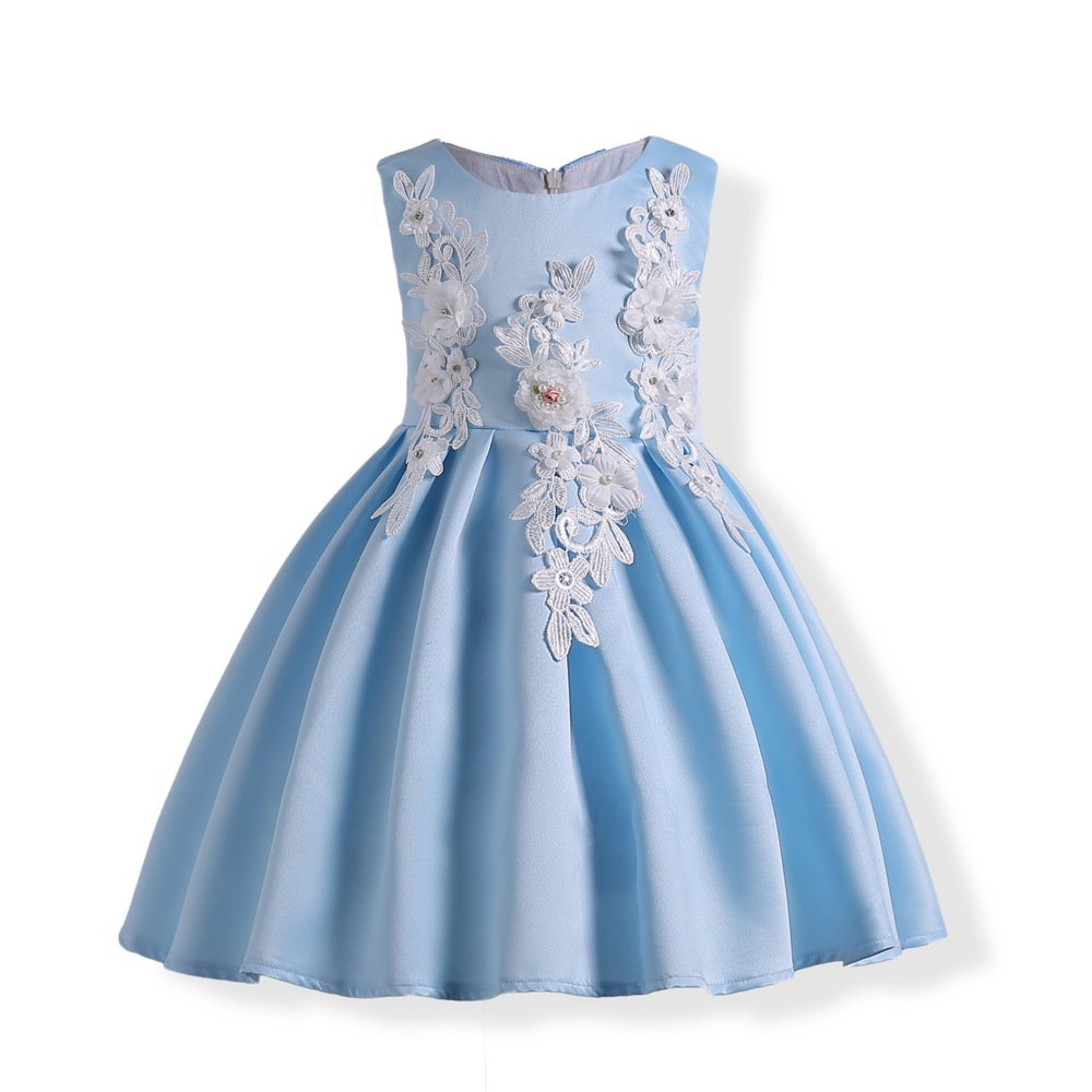 Girls Summer Casual Dress Sleeveless Vintage Print Swing Party Dresses Birthday Gift (140#, Blue)