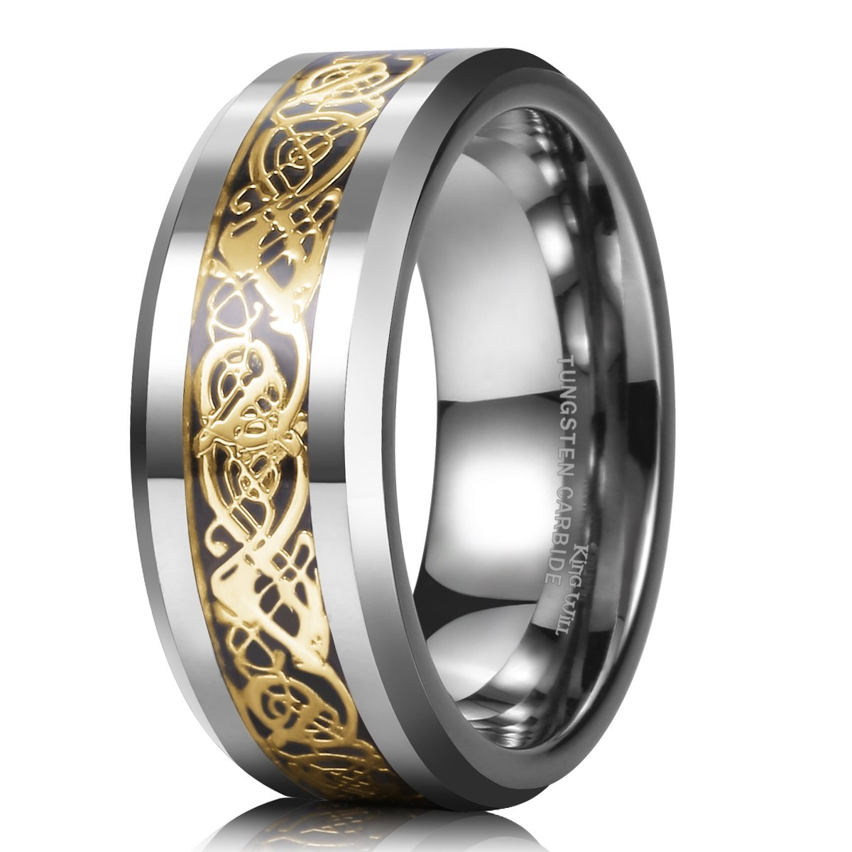 King Will DRAGON 8mm Gold Celtic Dragon Tungsten Carbide Mens Wedding Band Ring Comfort Fit King Will-R013