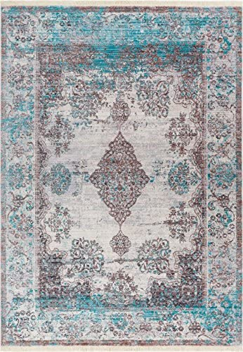 Eleanor Blue Beige Modern Vintage Floral Traditional Area Rug 4 x 6 3 11 x 5 7 Antique Weathered Oriental Medallion Multicolor Pattern