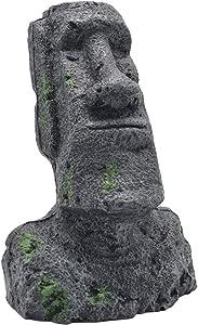 Amosfun Easter Island Head Fish Tank Aquarium Ornaments Cave Rockery Landscaping Decoration Size S