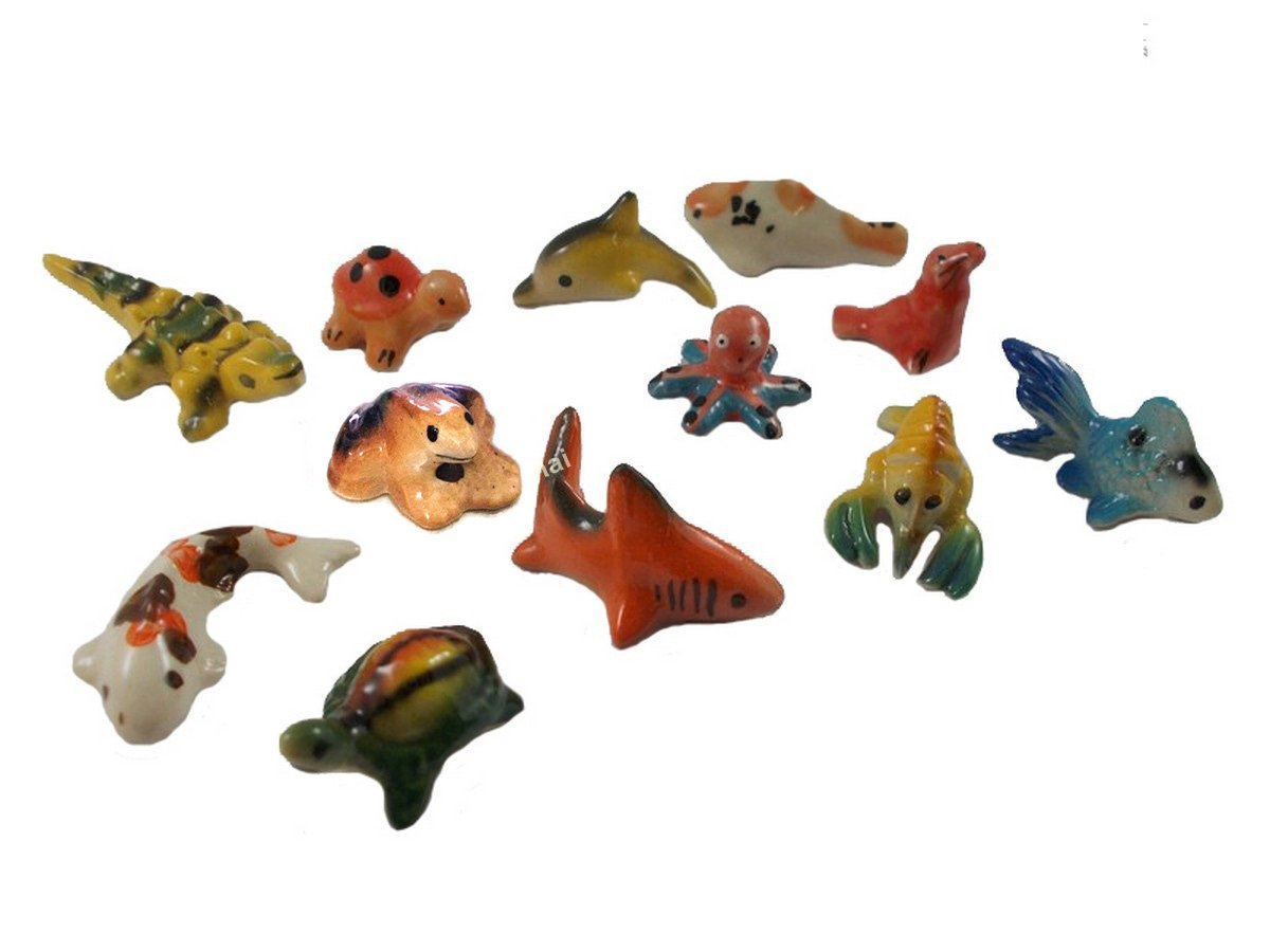 Koi Fish Miniatures Ceramic Figurines Animals Collection Painted Porcelain lot 12pc Decor fish tanks