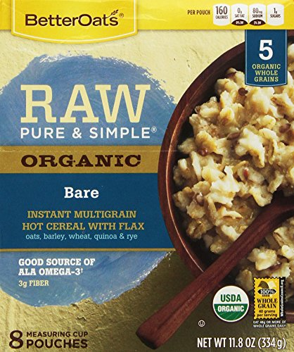 Better Oats, Raw Pure and Simple Organic, Bare, Instant Multigrain Hot Cereal with Flax, 11.8 oz