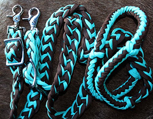 Horse Roping Western Barrel Reins Turquoise Brown Rein 60764