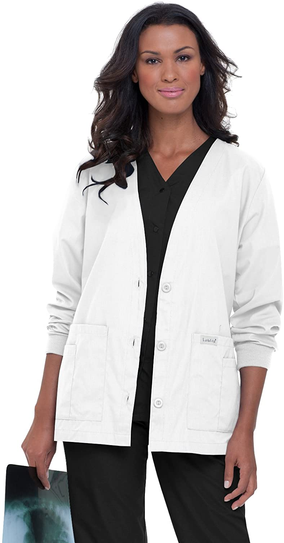 Landau Essentials 5-Pocket Cardigan Style Warm-Up Scrub Jacket for Women: Clothing