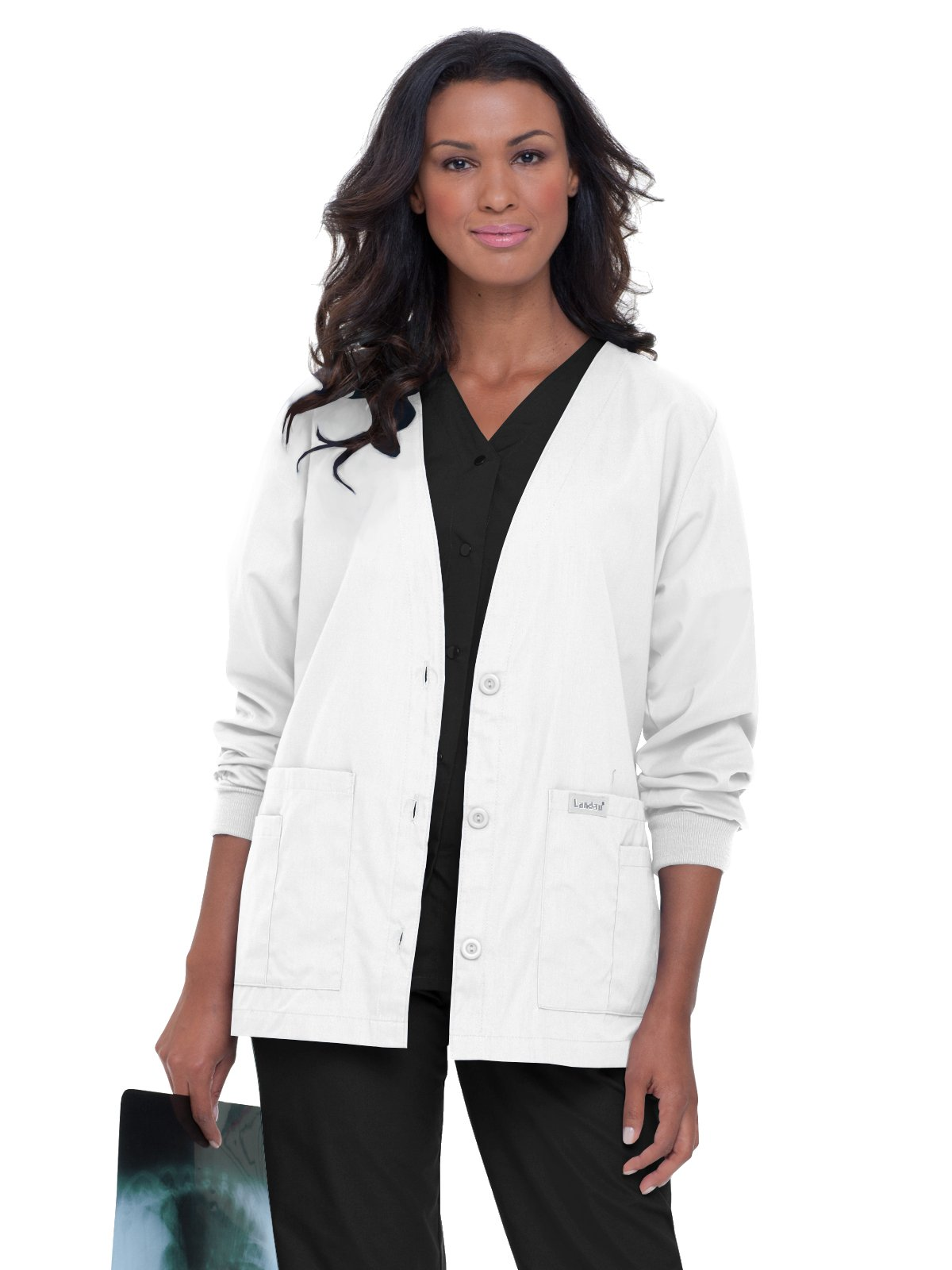 Landau Essentials Women's Cardigan Warm-up Scrub Jacket White 2XL