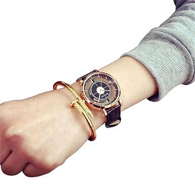 Dressin Womens Men Quartz Watch,Fashion Casual Leather Band Analog Wrist Watch Unique Hollow Watch