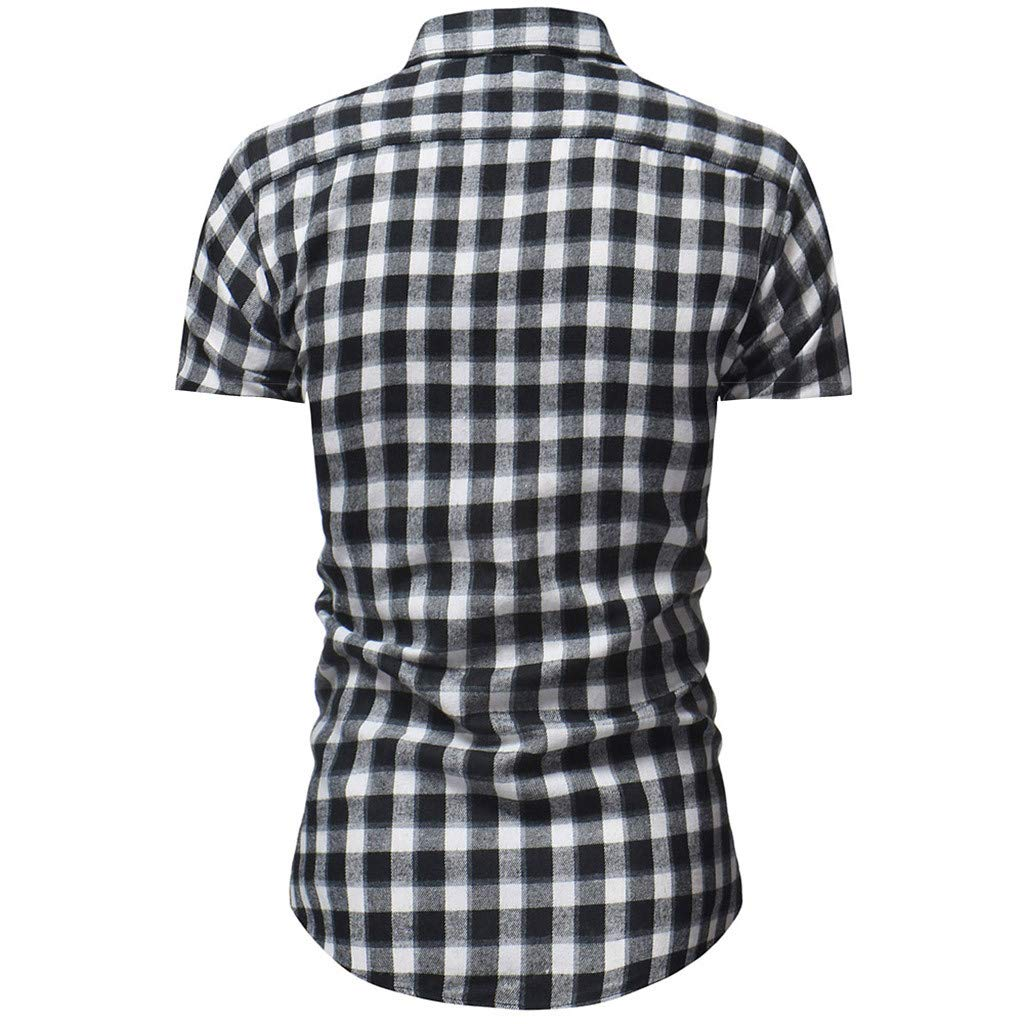 Ciyoon Mens Short Sleeve Button Down Shirts Mens Plaid Open Collar Short Sleeve Shirt