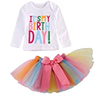 Zoe's wardrobe Girls'It's My Birthday Print Shirt Tutu Skirt Dress Outfit Set