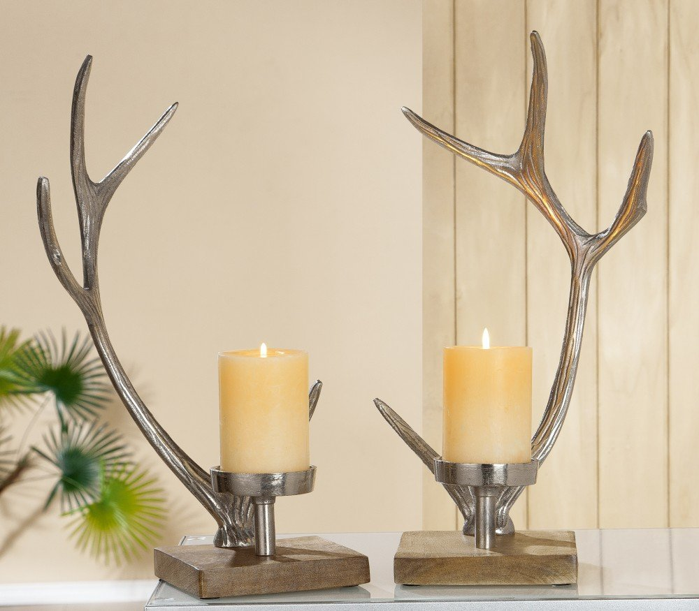 Gilde Kerzenständer Geweih aus Aluminium mit Holzfuß, 41,5x19,5x14 cm, Silber, 2-Teiliges Set