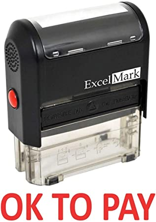 ExcelMark APPROVED BY Self-Inking Rubber Stamp A1539-Red Ink