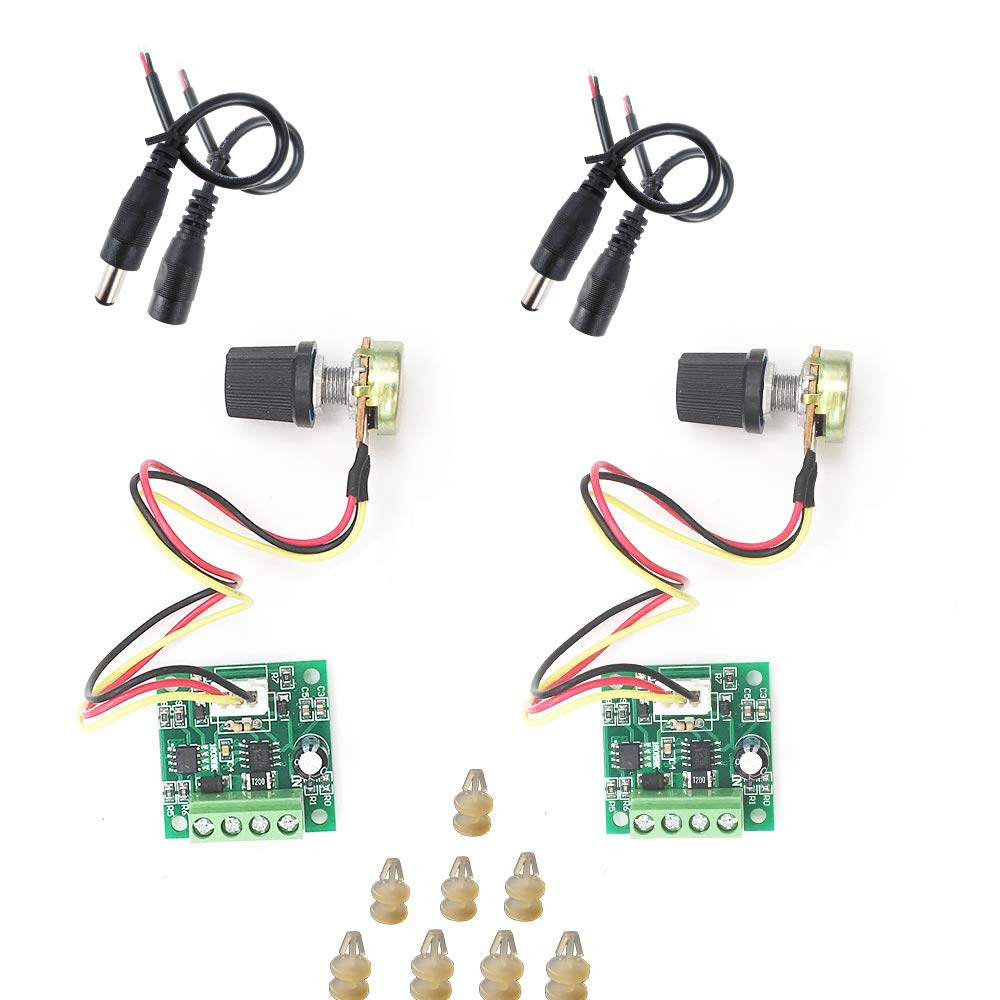 2 Pack PWM 1.8V 3V 5V 6V 15V 2A DC Motor Speed Controller, DC Motor Pump Speed Controller 12v Variable Speed Switch Pulse Width Modulator