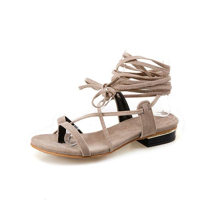 Chaussures Sandales Femmes Toe Clip Télévision Faible-Talons Grande Taille Sangles Cheville Beige,Romain,34