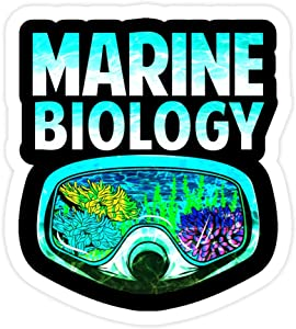 DKISEE 3 PCs Stickers Marine Biology Underwater Biologist - 4 inches Die-Cut Wall Decals for Laptop Window Car Bumper Water Bottle