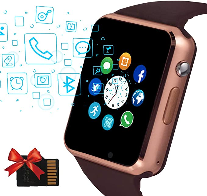 Janker Smart Watch, Bluetooth Smartwatch Android iOS Phone Compatible Unlocked Watch Phone with SIM Card Slot Camera Pedometer Touch Screen Music ...