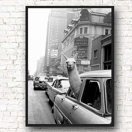 Llama en un Taxi de la Ciudad de Nueva York Arte de la Pared Pintura de la Lona Carteles e Impresiones nórdicos Imágenes de la Pared del Animal para la Sala de