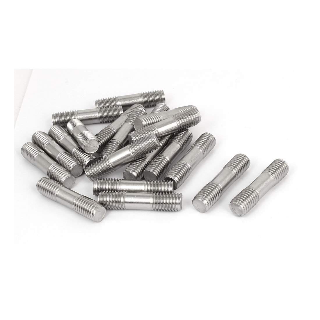 uxcell M12x50mm Double End Thread 304 Stainless Steel Tight Adjustable Push Rod Stud 20pcs
