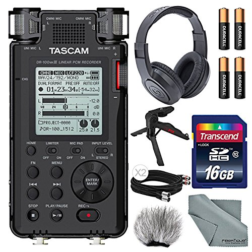 Tascam DR-100mkIII Linear PCM Recorder with XPIX Table Tripod + Headphones + Cables + Fibertique Cloth and More by Photo Savings