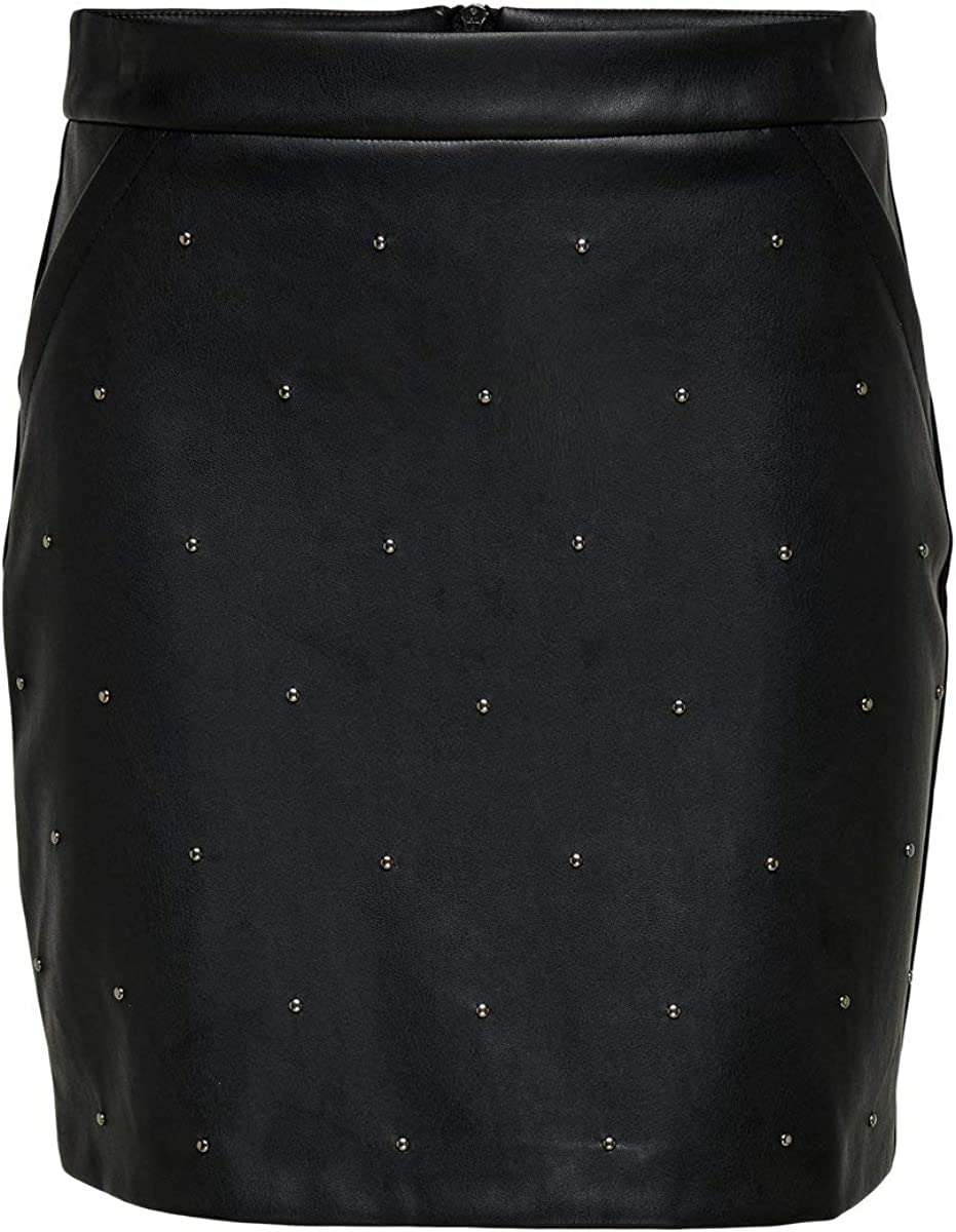 Only Onlannelly-Joleen Stud PU Mini Skirt Pnt Falda para Mujer