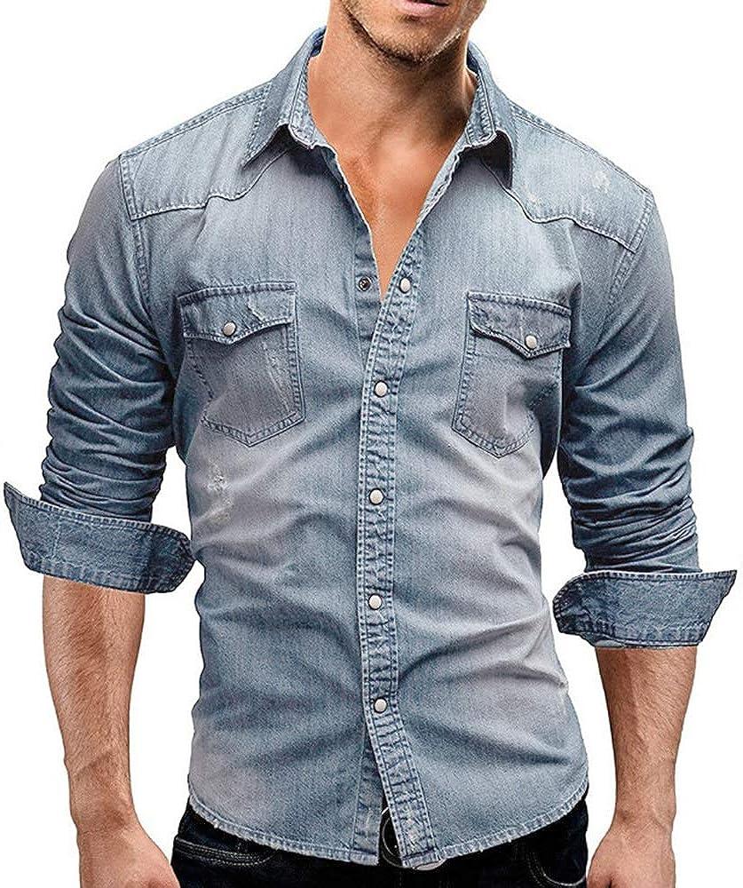 Camisa clásica de Manga Larga para Hombres Western Slim Fit ...