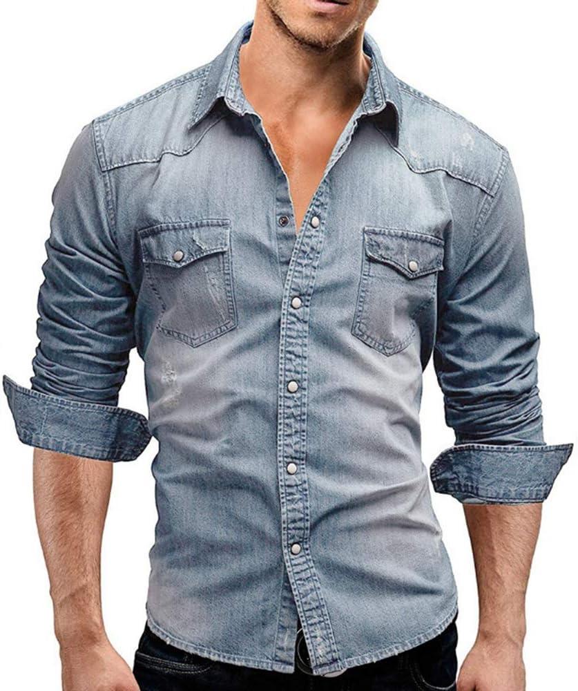 Camisa clásica de Manga Larga para Hombres Western Slim Fit: Amazon.es: Ropa y accesorios