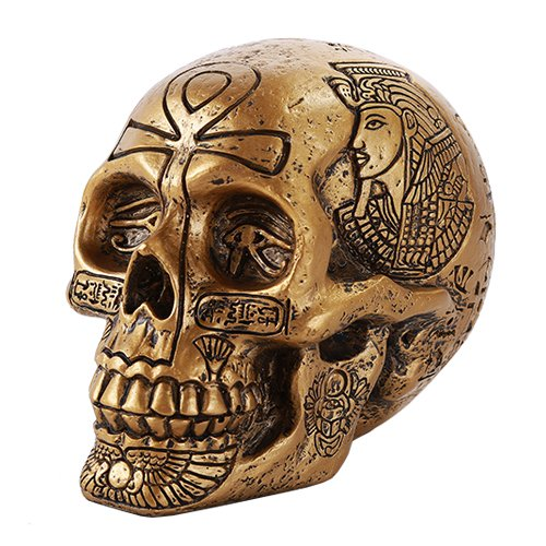 Pacific Giftware Ancient Egyptian Inspired Nefertiti King Tut Ankh Golden Skull Collectible