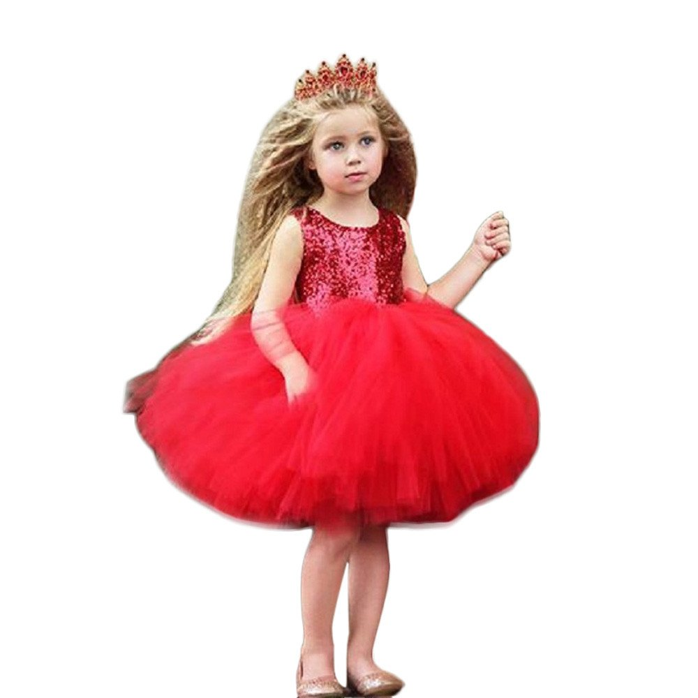 Subfamily Vestidos para niña Niño niña bebé corazón Lentejuelas Fiesta Princesa Vestido Tul Vestido Esponjoso 12 Meses a 4 años de Edad Mezcla de algodón Poliéster
