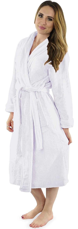 White NY Threads Womens Fleece Bathrobe  Shawl Collar Soft Plush Robe Spa Robe