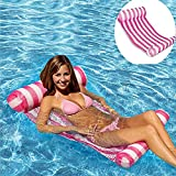 AILUOR Swimming Pool Beach Floating Water Hammock Lounge Chair, Inflatable Water Rafts Floating Bed,Floating Chair,Water Sofa,Inflatable Swimming Pool Lounger Chair for Adult and Kids (Pink)