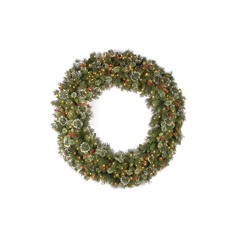 silk flower arrangements national tree company pre-lit artificial christmas wreath| flocked with mixed decorations and pre-strung white lights | wintry pine - 60 inch