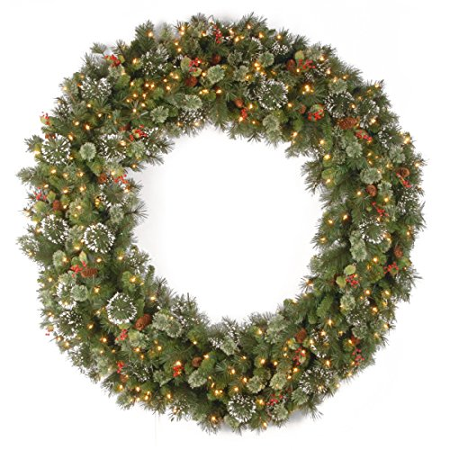 60 Inch Outdoor Lighted Wintry Pine Wreath with Cones, Red Berries, Snowflakes