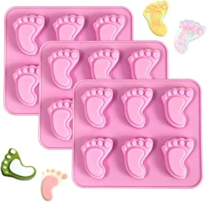 3Pcs Baby Foot Prints Silicone Soap Molds Footprint Shaped Chocolate Candy Molds Nonstick Lotion Bars Jello Ice Cube Tray Food Grade Baking Muffin Cupcake Cookie Bread Pan (Random Color)