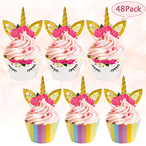 Nice AerWo 48pcs Unicorn Cupcake Toppers and Wrappers.Upgrade Double Sided Rainbow and Unicorn Toppers for Kids Party Unicorn Cupcake Decorations for cheap