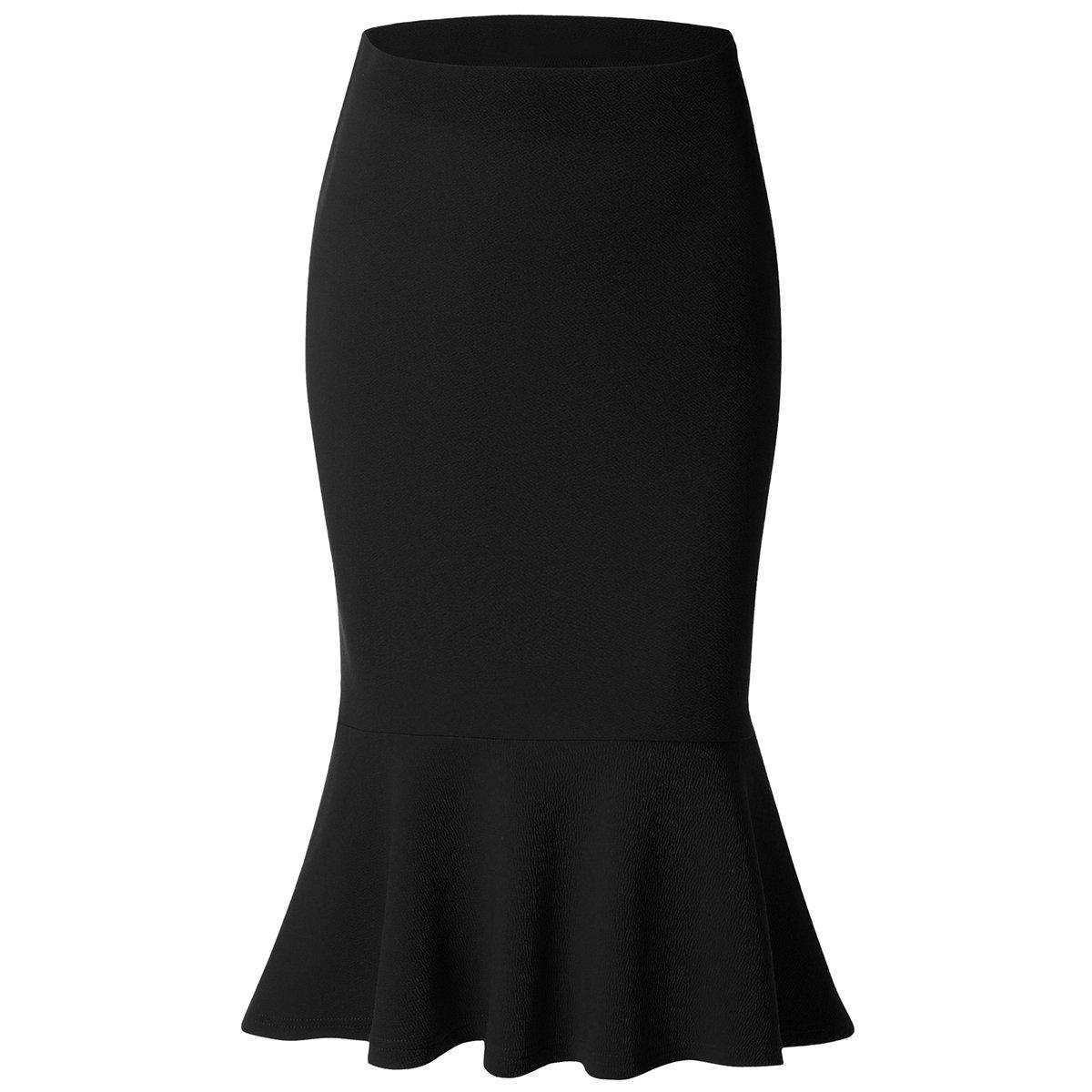 Women Mermaid Skirt High Waist Fishtail Hem Solid Bodycon Pencil Midi Skirts, Black, X-Large