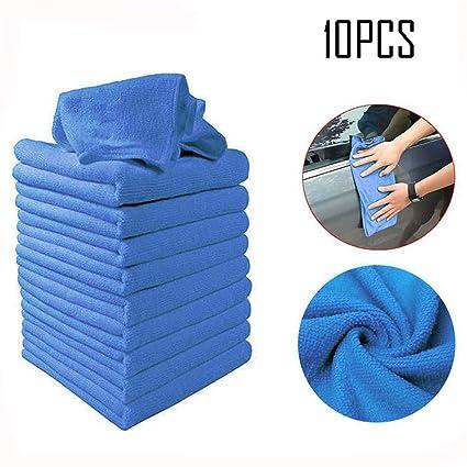 Kloius 10 unids Paño de Limpieza de Microfibra Absorción de Agua Cuadrada Limpieza de Coches Toalla de Limpieza