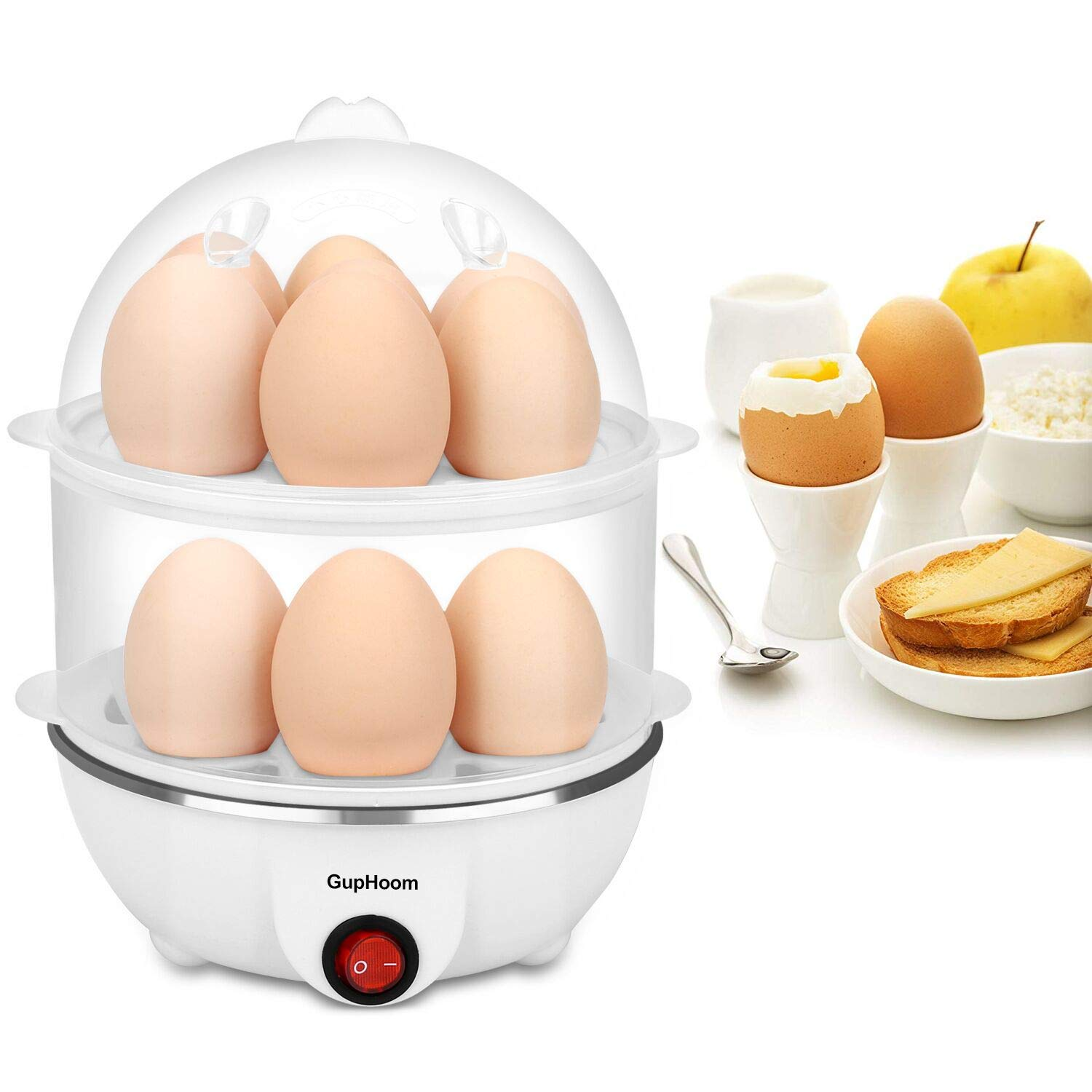 GupHoom Egg Cooker Boiler Steamer 14 Egg Capacity With Automatic Shut Off White by GupHoom
