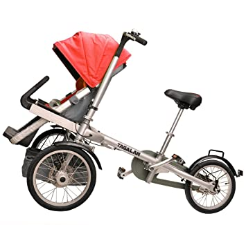 Amazon.com : Tagalan 3 Wheels Folding Bicycle 16inch Pushchair ...
