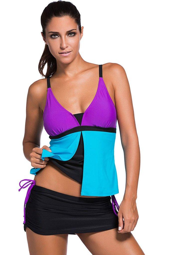 Chase Secret Womens Womens Color Block Tankini Top with Skirt Bikini Bottom Swimsuit Set (XL, Purple Blue)