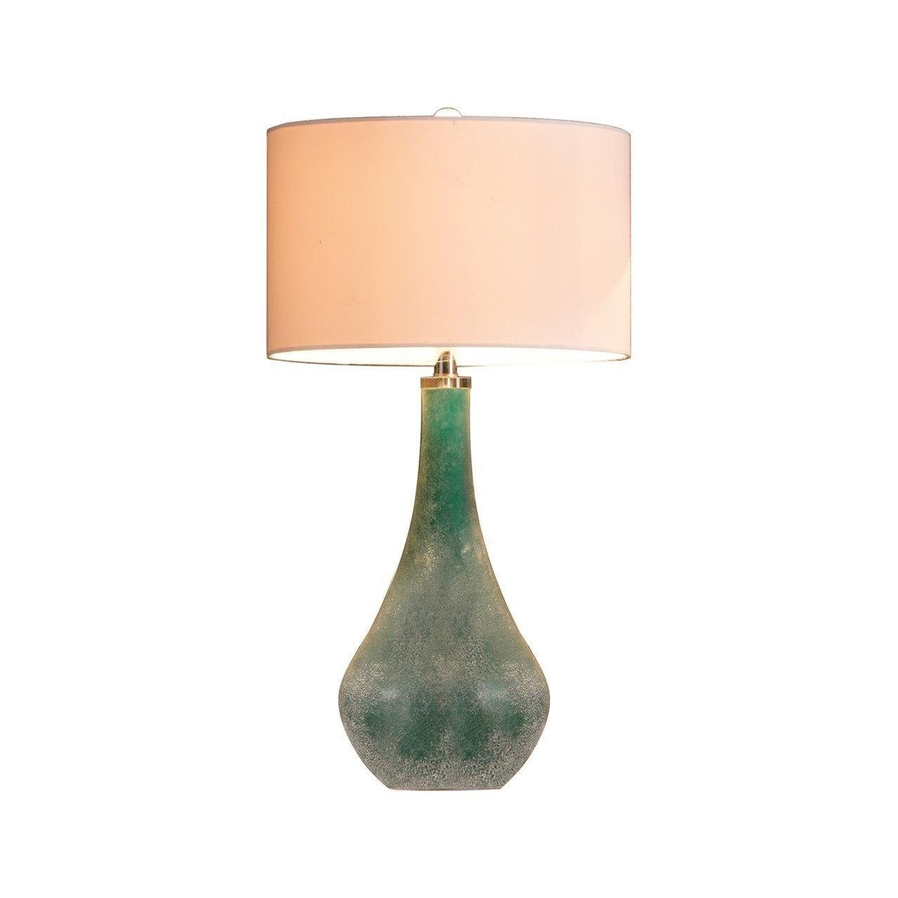 Mid Century Modern Blue Green Sanblasted Art Glass Table Lamp - Includes Modhaus Living  Pen