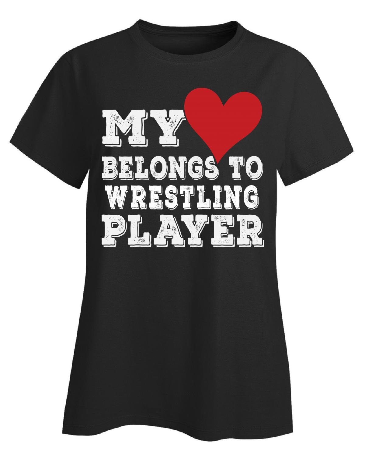 My Heart Belongs To A Wrestling Player - Ladies T-shirt Ladies 4xl Black by URBANTURB