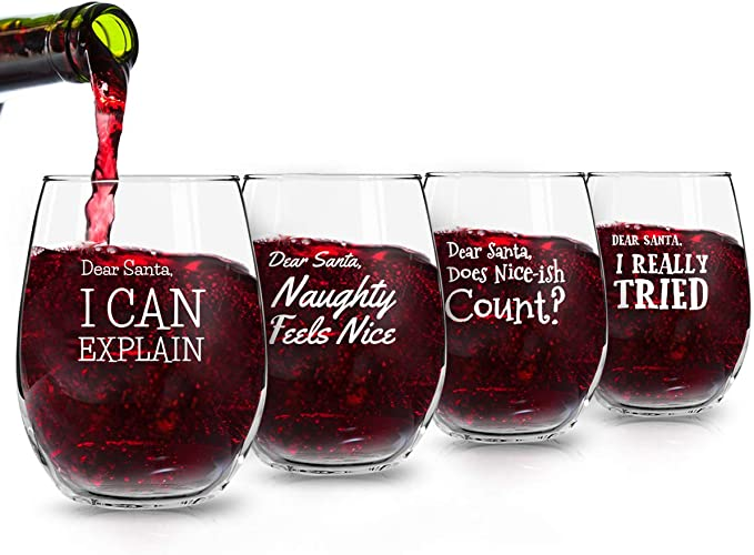 Naughty Christmas Wine Glass-Naughty-Hand Lettering-Single Glass-Funny Quotes-Holiday Glass