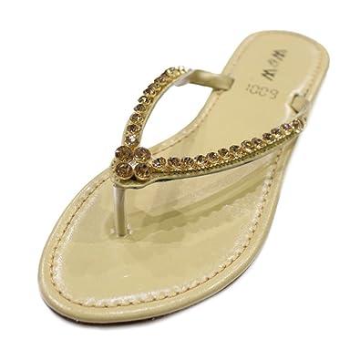 7fcab2af39e755 Wear   Walk UK W W Women Ladies Evening Slip On Flat Comfort Sandal Diamante  Shoes Size