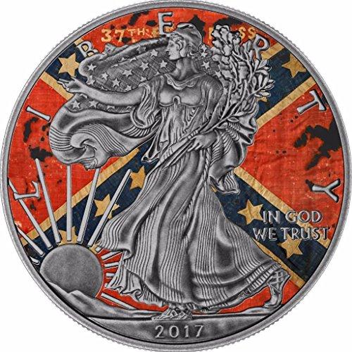 2017 BU American Eagle 1 Oz Liberty Confederate Flag Antique Silver Coin - Silver Coin - $1 Uncirculated BM