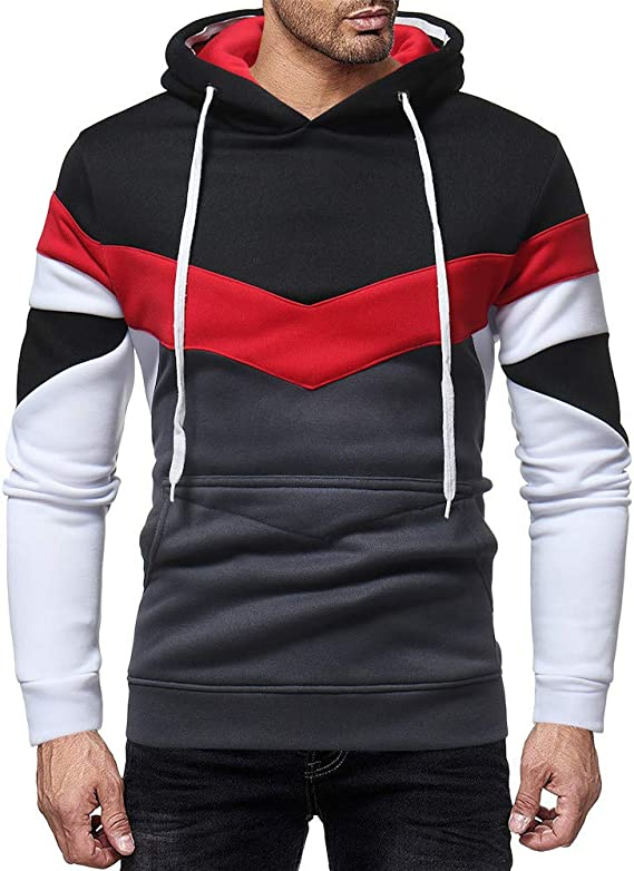 Fashion Hoodies,Mens Boys Color Patchwork Sweatshirt Slim Pockets Hooded  Pullover Outwear(Black, M): Amazon.ca: Clothing & Accessories