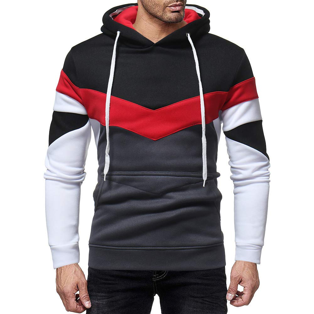 iLXHD Men's Casual Patchwork Long Sleeve Jumper Hoodie Sweatshirt Top Outwear(Black ,XL