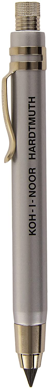 Koh-I-Noor 5359 - Portamina interamente in metallo, 5,6 mm, con temperino, colore: Argento 5359CN1015KK