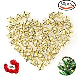 50 Pack 1 Inch Jingle Bells Christmas Gold Jingle Bells For Craft Festival Decoration With 30 Meter Red Cord and 12 Bowknots