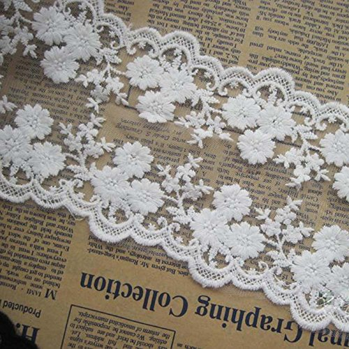 Ivory 4 Yards Lovely Daisy Embroidered Bilateral Mesh Lace Trim Costumes Supplies Craft DIY 4 inches - Trim Embroidered Mesh Lace