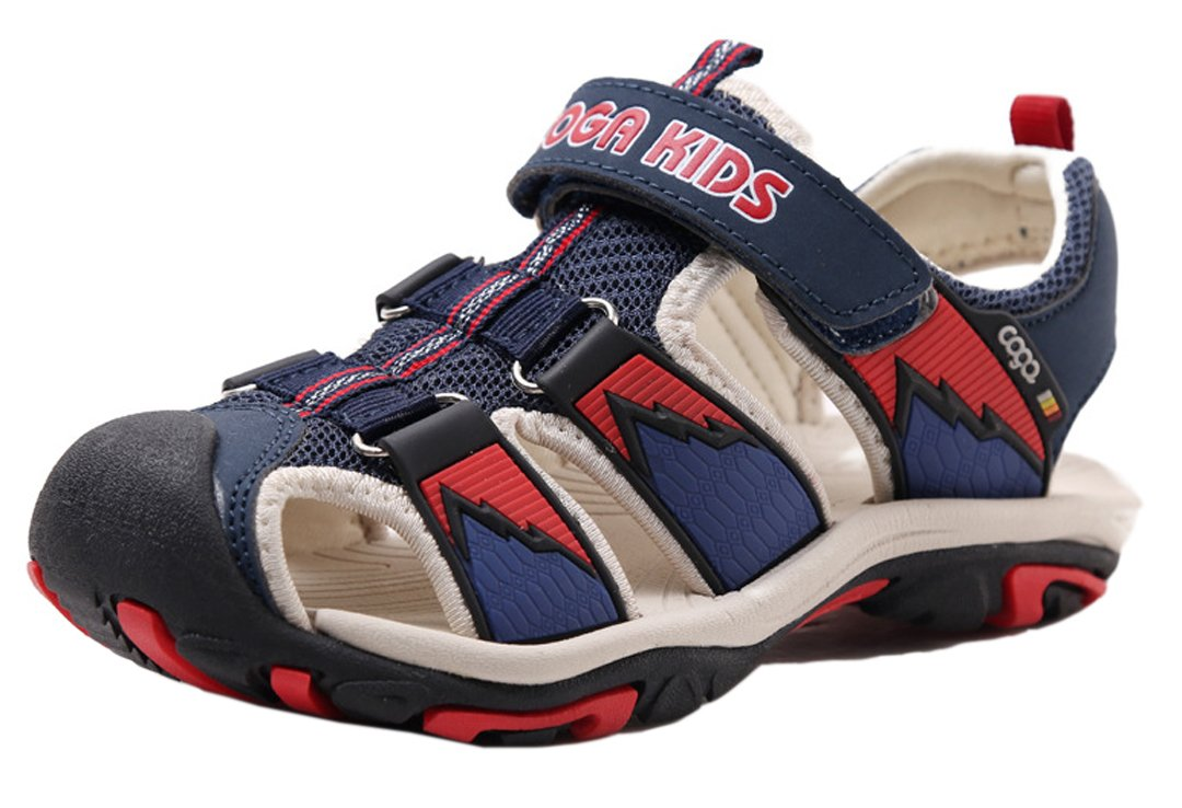 iDuoDuo Kids Boys Prints Breathable Anti Slip Closed-Toe Sport Sandals Shoes Dark Blue 3.5 M US Big Kid