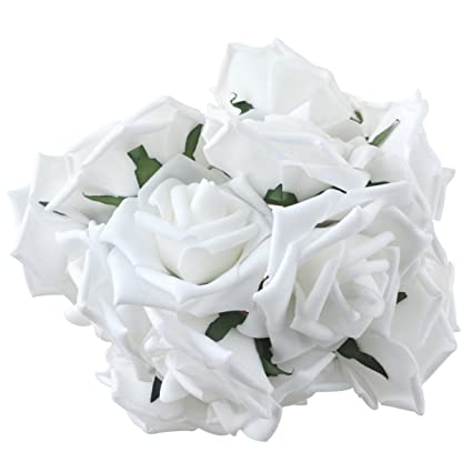 Amazon obmwang 50pcs white foam roses flowers real touch obmwang 50pcs white foam roses flowers real touch artificial rose flowers diy 3d wedding bridal mightylinksfo