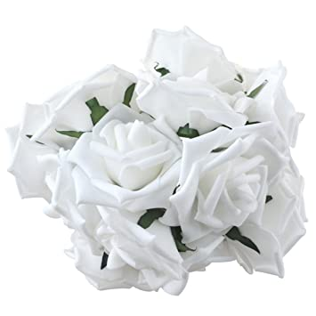 Amazon obmwang 50pcs white foam roses flowers real touch obmwang 50pcs white foam roses flowers real touch artificial rose flowers diy 3d wedding bridal mightylinksfo Images